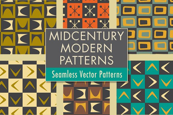 Mid Century Modern Patterns Shapes Graphic Patterns Creative Market