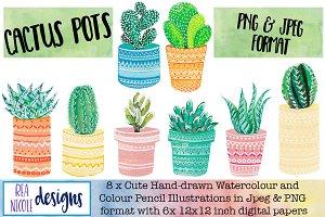 Cactus in Pots Clip Art Pack