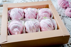 Berry marshmallow in a gift box