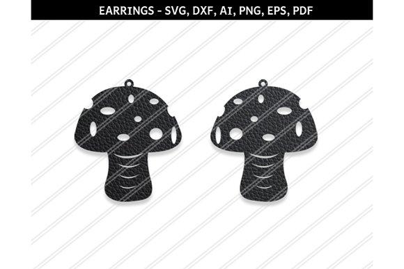Mushroom Earrings Svg Dxf Ai Eps Png