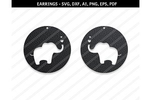 Elephant earrings svg,dxf,ai,eps,png
