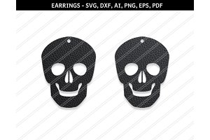 Skull earrings svg,dxf,ai,eps,png