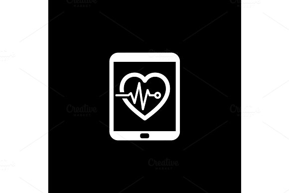 Cardiogram And Medical Services Icon Flat Design