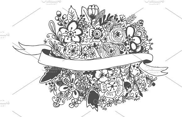 Floral Banner Hand Drawn