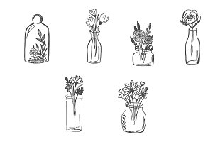 Flowers in vase, hand drawn