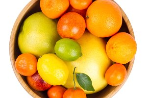Isolated citrus fruits