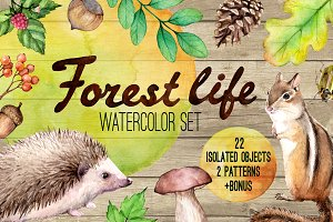 Forest life Watercolor set