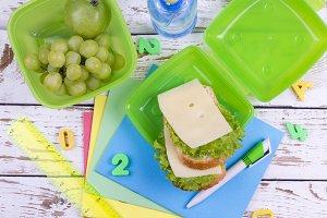 school objects and breakfast
