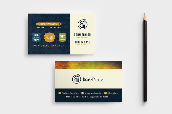 Pub business card template business card templates creative market pub business card template wajeb Gallery