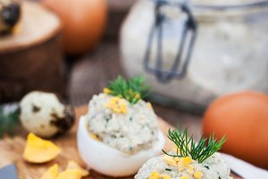 Eggs stuffed with herring pate