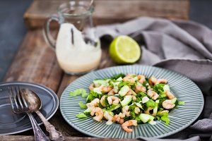 Shrimps, cucumber and lettuce salad