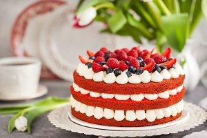 Homemade red velvet cake