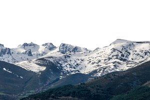 Snowy peaks in a mountain range