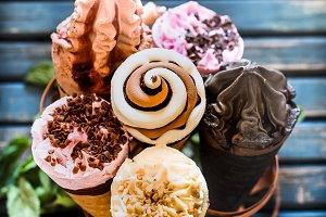 Ice cream cone in the stand