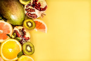fruit on a yellow background