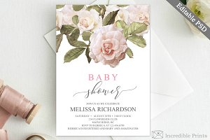 Pink Roses Baby Shower Invite