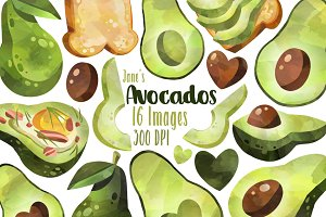 Watercolor Avocados Clipart