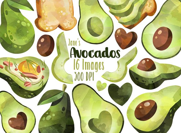 Watercolor Avocados Clipart