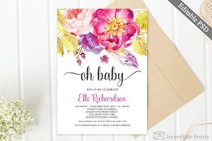 Fuscia Floral Baby Shower Invite