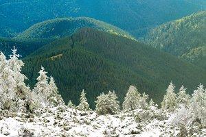 Panorama of snow mountains