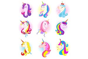 Unicorn vector cartoon horse character with magic horn and rainbow mane in children dreams illustration horsey set of fantasy colorful animal for kids isolated on white background