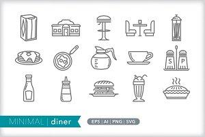 Minimal diner icons