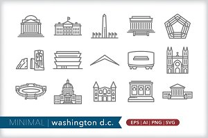 Minimal washington dc icons