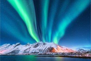 Aurora borealis. Lofoten islands, Norway. Aurora