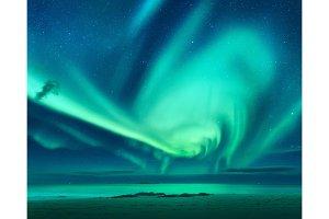 Aurora. Aurora borealis above the sea