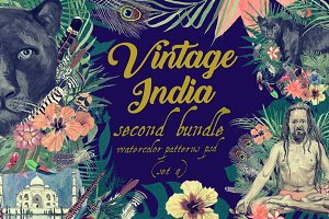 Vintage India 2. Pattens psd. Set 4.