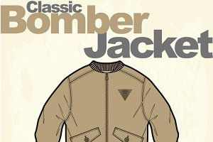 Men Classic Bomber Jacket Vector