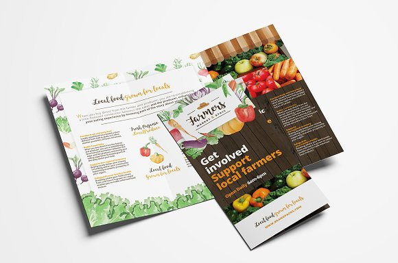 Farmers Market Trifold Brochure Brochure Templates Creative Market