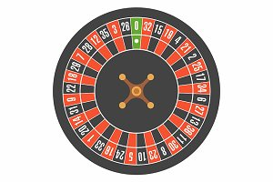 European roulette wheel. Top view