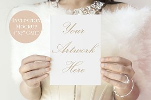 "Woman holding 5""x7"" mockup invite"
