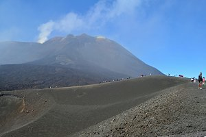 On Top of Volcano Etna, Panorma