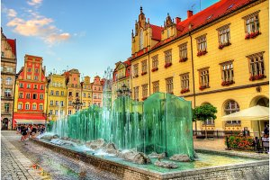 Fountain on the Market Square of Wroclaw - Poland