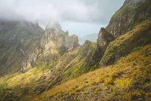 Impressive rugged mountain range overgrown with verdant grass. Xo-Xo Valley. Santo Antao Island, Cape Verde Cabo Verde