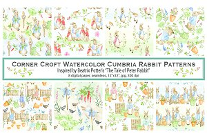 Watercolor Cumbria Rabbit Patterns