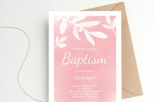 Watercolour Baptism Invitation