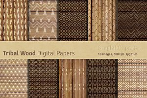 Tribal Wood Digital Papers