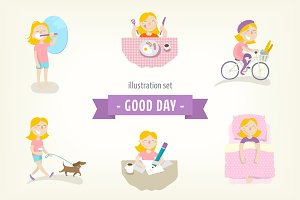 Flat illustrations set - Good Day!
