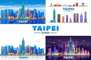 Taipei Taiwan vector skyline