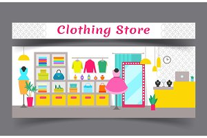 Clothing Store Composition Vector Illustration