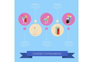 Cocktail Combinations Poster with Alcohol Beverage