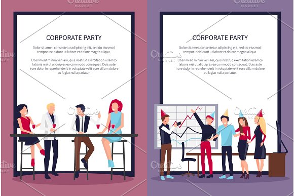 Corporate Party Web Page On Vector Illustration