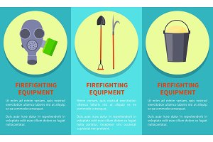 Tools for Firefighting on Circles Colorful Poster