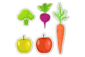 Ripe Fruits and Vegetables Vector Stickers Set