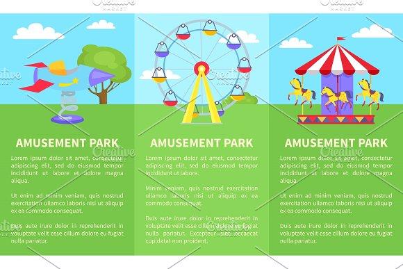 Amusement Park Set Of Posters With Ferris Wheel