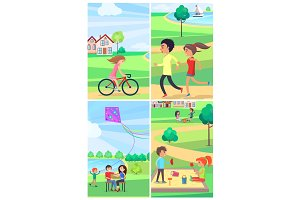 Kids and Adult Spending Time Actively Park Poster