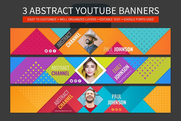 YouTube Templates: Genestro Shop - 3 abstract youtube banners